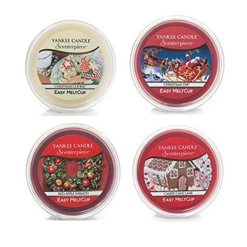 Yankee Candle Home für Weihnachten 4scenterpiece meltcup Pack–inkl. Christmas Cookie, Christmas Eve, Red Apple Wreath & Candy Cane Lane
