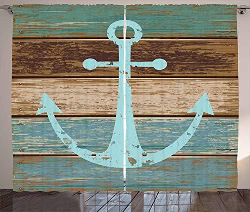 ABAKUHAUS Rustikal Rustikaler Vorhang, Anker auf Holzplanken, Wohnzimmer Universalband Gardinen mit Schlaufen und Haken, 280 x 175 cm, Hellblau Braun Teal