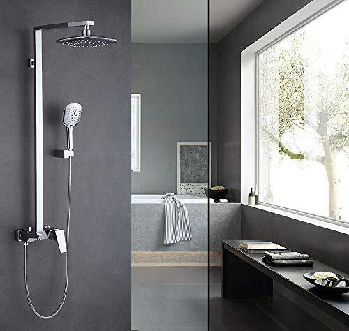 Wasserhahn Chrome Brass Square Shower Set Drei-Funktions-Kalt- Und Warmwassermischer Dusche Wasserhahn Wandmontage Bad Wasserhahn Dusche @ Chrome