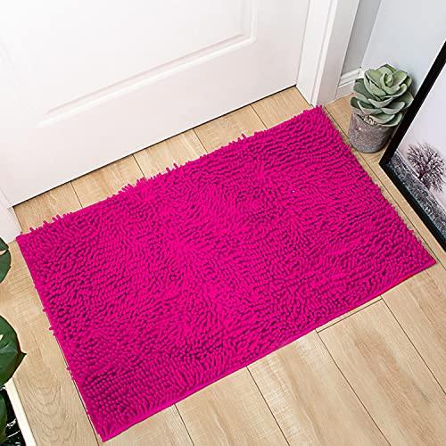 Pahajim Alfombras de Antideslizante Absorbente Baño Microfibra Tacto Alfombra de Ducha de Chenilla Suave 50x80cm Alfombras de Lavable a Máquina Apto para Baño, Cocina, Dormitorio.(Rosa roja)