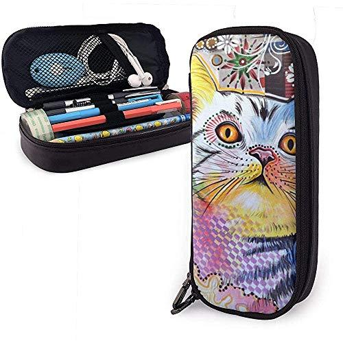 Cat Head Up PU Leder Bleistift Tasche Etui Etui für Büro Schule Collage Portemonnaie Kosmetik Make-up Tasche