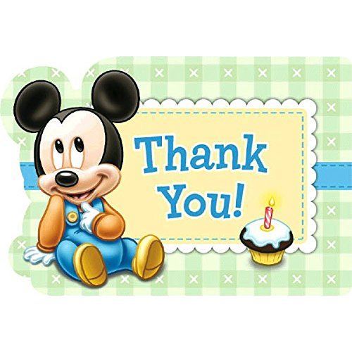 "Disney Baby Mickey Mouse 1st Birthday Party Postcard Thank You Cards, Cardstock, 4"" x 6"", Pack of 8"