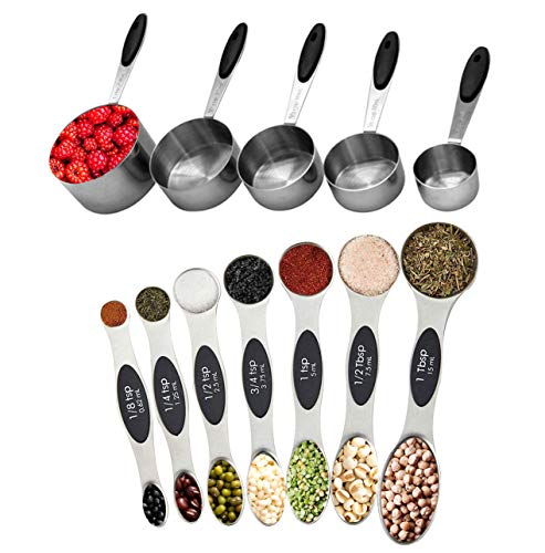 PLERISE 5 Measuring Cups,7 Stainless Steel Magnetic Spoons, Set of 12 Pieces Cup and Spoon for Dry and Liquid Ingredients (Black)