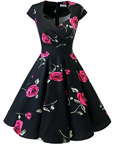 Bbonlinedress 1950er Vintage Retro Cocktailkleid Rockabilly V-Ausschnitt Faltenrock, XXL, Black Red Brose