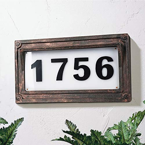 Solar Powered House Numbers, Address Sign LED Outdoor Plaque Lighted Up for Home Yard Street.