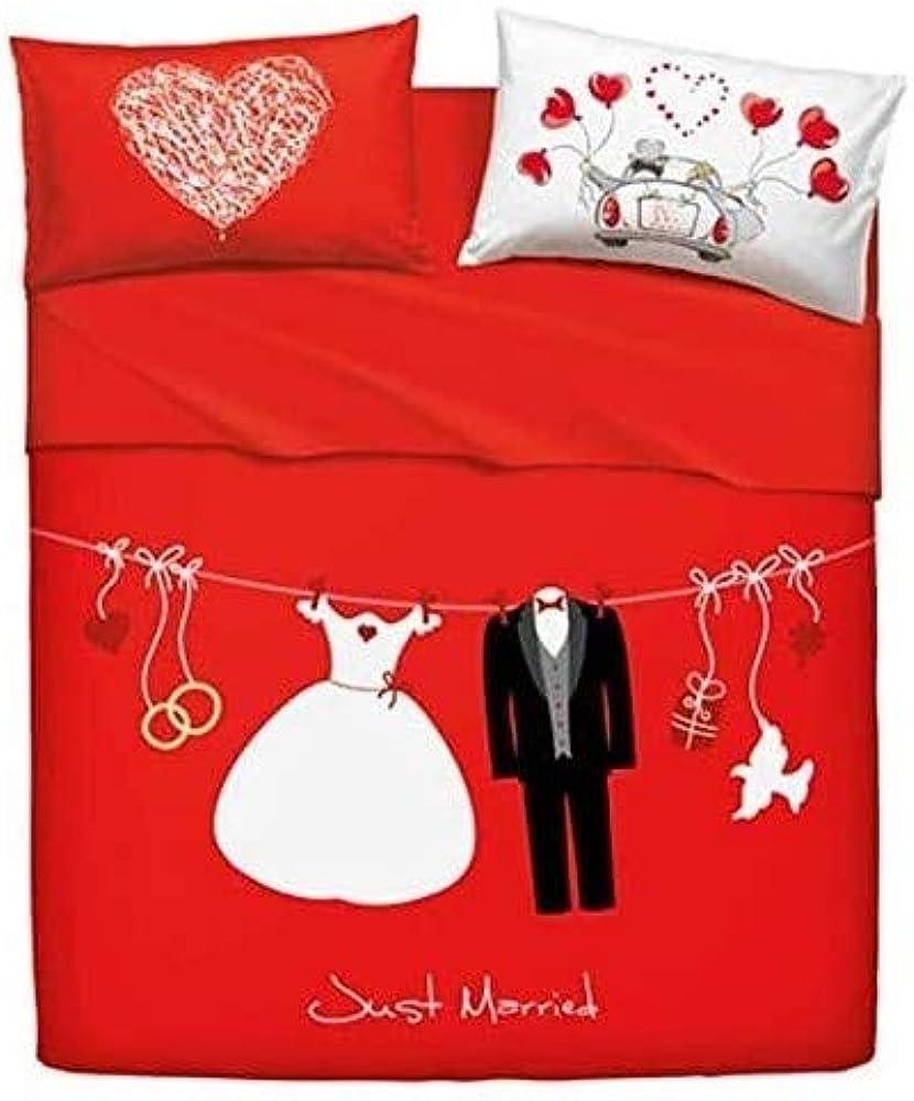 Bassetti, set lenzuola matrimoniali, love is a couple,tessuto in puro cotone G700