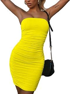 39d09decb31 MOLFROA Women s Sexy Slim Bodycon Strapless Neck Short Mini Party Club  Cocktail Fold Dresses