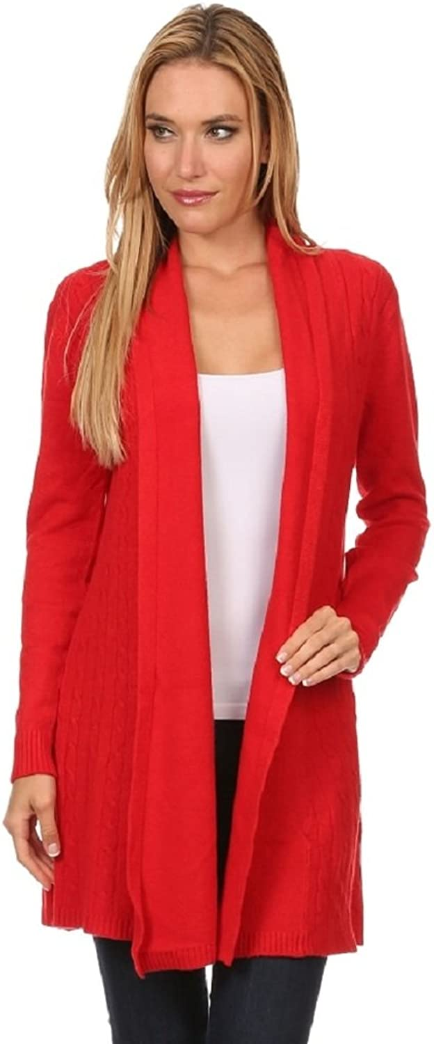 High Secret Jessica Moretti Women's Red Black Solid Classic Textured Soft Knit Open Front Draped Cardigan