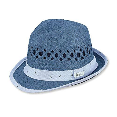 Sterntaler - Jungen Sommerhut Strohhut mit Baumwolleinsatz, UV-Schutz 50+, blau - 1611980, Größe 47