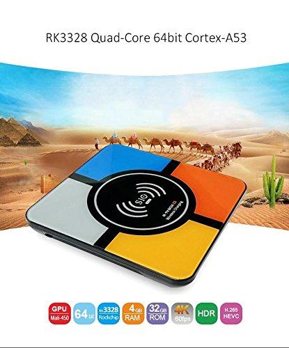 (con función de carga inalámbrica) R-TV BOX S10 Plus Android 8.1 OS Smart TV Box RK3328 Quad Core 4 GB+32 GB compatible con WiFi/4K/H.265/USB3.0/3D