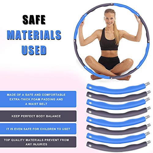 Can be Divided Into 6-8 Parts Fitness Hula Hoop Weighted 1.2 kg 75-95 cm in Diameter Hula Hoop Used for Weight Loss and Massage 4 Knots Red + Grey