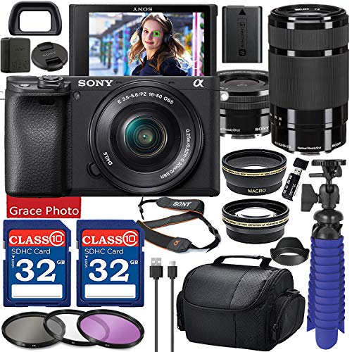 Sony Alpha a6400 Digital Camera with 16-50mm Lens (Black ILCE-6400L/B) & 55-210mm Lens Bundle with Accessory Package Including 64GB Memory, Spider Vlog Tripod & More (21 Pieces)