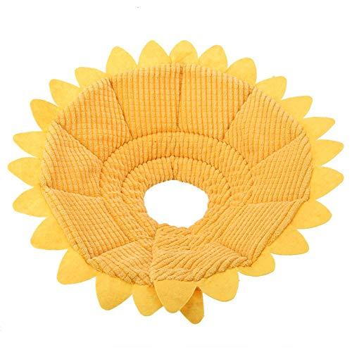 Smandy Schutzkragen Halskrause Pet Recovery E Collar Baumwolle Sunflower Collar Neck Cone Kegelkragen Pet Protective Collar für Hund und Katze (23-26cm)
