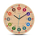 Cander Berlin MNU 7930 S - Reloj de pared para niños (30,5 cm, silencioso, tablero DM, esfera analógica, dial de aprendizaje, para niños y niñas, sin ruido de tictac), multicolor
