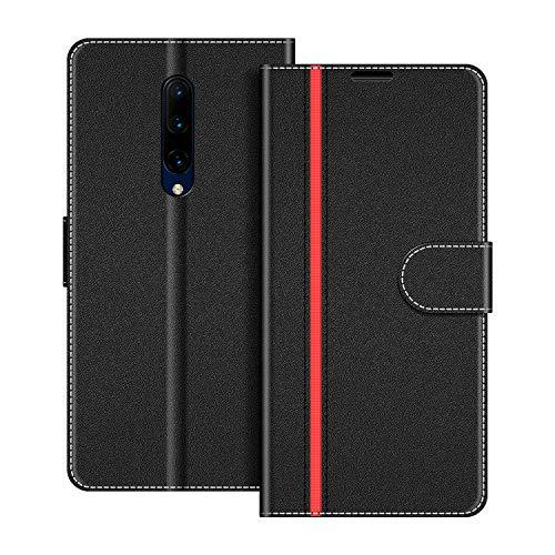 COODIO Handyhülle für OnePlus 7 Pro Handy Hülle, OnePlus 7 Pro Hülle Leder Handytasche für OnePlus 7 Pro Klapphülle Tasche, Schwarz/Rot