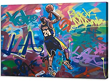 Kobe-Bryant Canvas Graffiti Wall Art Abstract Forever Mamba LA #24 Basketball Home Decor Picture Paintings Mourning Artwork for Living Room Bedroom Decoration Framed Poster Ready to Hang  28   x 40