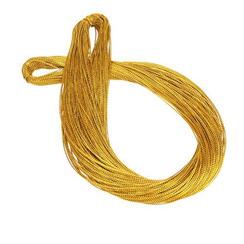 Livder 109 Yards Golden String Glitter Cord Thread for Hanging Christmas Tree Ornaments Wrapping Tags and Craft Making