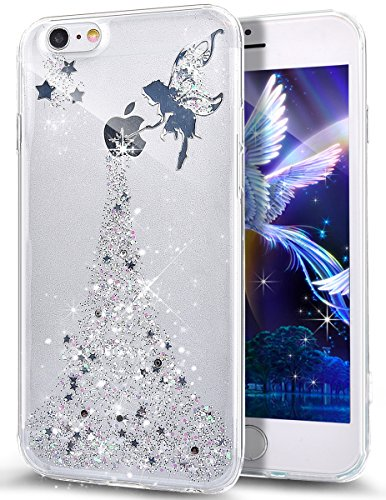Funda para iPhone 6S Plus, iPhone 6 Plus, ikasus Crystal Clear Bling Glitter Sparkle Angel Girl Ultra Slim Flexible marco de silicona suave TPU Bumper Caucho Funda protectora para iPhone 6S/6 Plus 5.5, plata