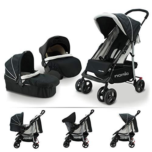 Nania Trio Set 3 in 1 Kinderwagen bis 25 kg + Babyschale + Babywanne mit Matratze ab Geburt, Buggy mit Liegefunktion, leicht, klein faltbar,
