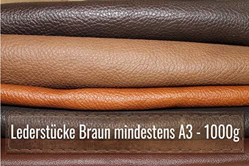 Lederreste A3 - Bastelleder 1 Kg - Sortiert Braun (Verschiedene Töne), Alle Stücke Mind. DINA3 - Zum Basteln und Nähen
