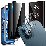5 Pack LϟK 2 Pack Privacy Screen Protector & 3 Pack Camera Lens Protector Compatible for iPhone 12 Pro 5G 6.1 inch Not for iPhone 12 Tempered Glass Film, Case Friendly Easy Installation Tray - Grey