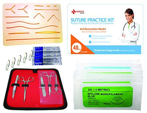 Complete Suture Practice Kit for Suture Training, Including Large Silicone Suture Pad with pre-Cut Wounds and Suture Tool kit (40 Pieces) by SurgicalOnline. 3rd Generation Model. (Education Use Only)