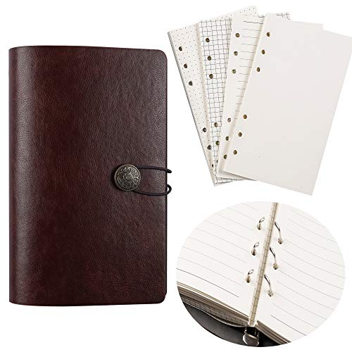 JIALINY A6 PU Leather Notebook Small Binder refillable Journal -6 Ring Binder for Filler Paper Notebook, Loose Leaf Personal Planner Organizer Binder Soft Cover 7.48x4.72(Brown)
