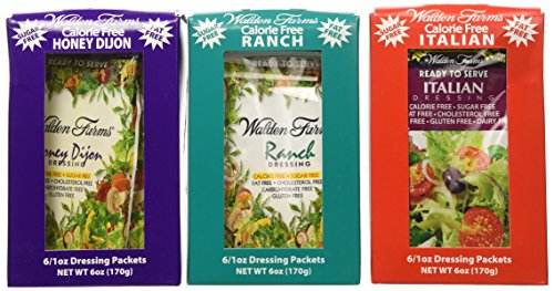 3 Boxes (18 Packets): Walden Farms Salad Dressing 1 Oz Packets (1 Box- Ranch; 1 Box- Italian; 1 Box- Honey Dijon)