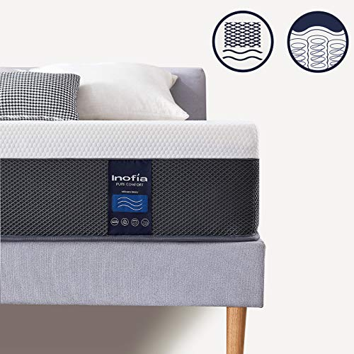 Inofia Double Memory Foam and Sprung Mattress 11.4Inch, Mattress with Advanced Ventilated Mesh Side Cover,The Airflow Collection/100 Night Test at NO Risk(135x190x29cm)