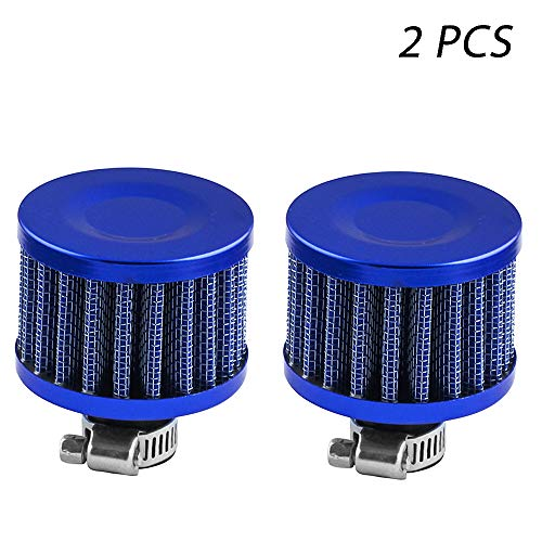 2Pack 12mm Mini Red Universal Car Motor Cone Cold Clean Air Intake Filter Turbo Vent Breather (Blue)