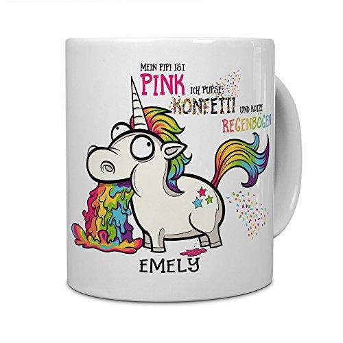 PrintPlanet® Tasse mit Namen Emely - Motiv Einhorn - Namenstasse, Kaffeebecher, Mug, Becher, Kaffeetasse - Farbe Weiß