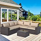 Gotland Outdoor Patio Furniture Sets 6 Piece Patio Sectional Furniture All-Weather Outdoor Patio Sofa PE Wicker Backyard Deck Couch Conversation Chair Set with Table & 5 Sand/Khaki Thickened Cushions
