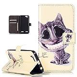 Lenovo K5Case, Lenovo K5Funda Cartera, ikasus Girl Silhouette Fold tipo cartera funda de piel–Funda de piel tipo cartera soporte Soportes de ID de tarjeta de crédito funda para Lenovo K5(2016), color Smile Cat
