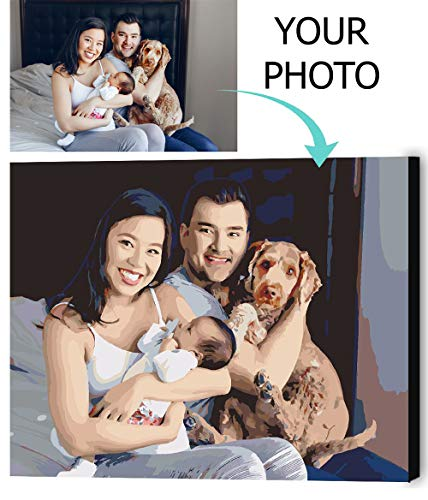 """VATO Photo to Custom DIY Paint by Numbers for Adults,Your Own Private Picture Personalized Customized PBN, No Frame (16"""" x 20"""")"""