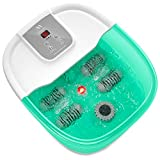 Foot Spa Misiki Foot Bath Massager with Heat Bubbles Vibration Red Infrared Light and Auto Shut-off, 4 Massage Rollers and Pedicure Stone for Tired Feet, Shiatsu Massage to Relieve Stress Muscle Pain