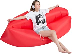 Inflatable Couch Inflatable Lounger Air Lounger Lazy Outdoor Inflatable Sofa Portable Air Mattress Lunch Break Camping Air Bed Beach 88GSQ (Color : Pink, Size : 180 * 63CM)
