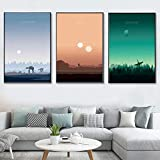 JHCT Canvas Art Star Wars Posters and Prints Sunset Landscape Minimalist Canvas Painting Movie Pictures for Living Room Home Decor-40x60cmx3 Pcs No Frame