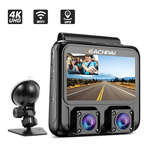 Dash Cam 4K, EACHPAI X100 Plus Dual Dash Camera Single 4K Front/Dual 1080P,3'' Car Camera Dash Cam for Cars with WI-FI, GPS,IR Night Vision,Parking Mode,G-Sensor,Motion Detector,Loop Recording,WDR