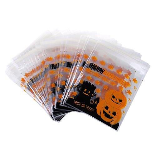 100 Piezas Bolsas de Galletas Caramelo Halloween Partido Calabaza Bricolaje Cumpleaños Artesanía - Amarillo
