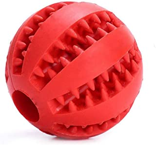 Dog Rubber Ball Chew Toy Cleaning Tooth Bite Resistant Treat Dispensing for All Dog Red