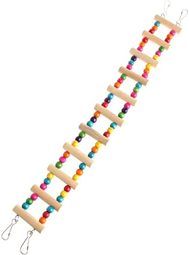 Alitrade Wood and Cotton Natural Colourful Bead Cage Parrot Chewing Ladder Toy (2.5x18-inch)