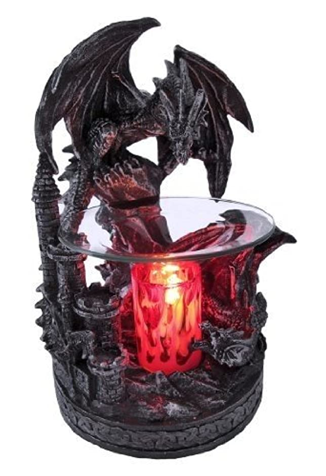 Electric Dragon Oil Warmer - Polyresin Dual Dragons & Castle - Candle Burner - Illuminating Lights - Satisfaction Guarnateed