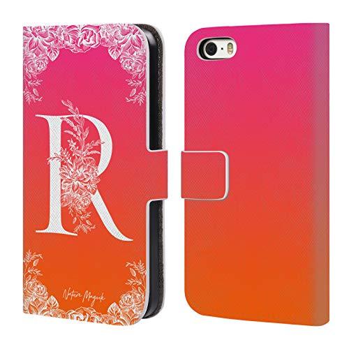 Head Case Designs Oficial Nature Magick Letra R Monograma Floral Blanco 2 Carcasa de Cuero Tipo Libro Compatible con Apple iPhone 5 / iPhone 5s / iPhone SE 2016