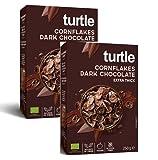 Copos de maíz orgánicos sin gluten de Turtle Cereals cubiertos con chocolate amargo - 2 x 250 gramos