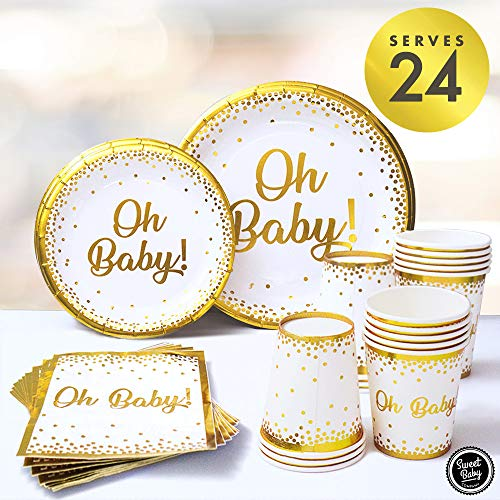 Sweet Baby Co. Oh Baby Shower Plates and Napkins Neutral for Boy or Girl with White and Gold Paper Plates, Cups, and Napkins | Disposable Tableware for 24 Guests | Party Supplies and Decorations
