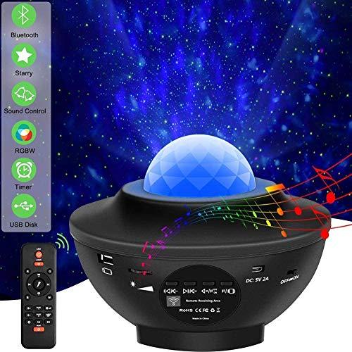 Sternenhimmel Projektor Stern Effekt Lampe Multifunktion Ozeanwelleneffekt Nachtlicht Kinder, mit Bluetooth Lautsprecher, mit Timer, mit Fernbedienung, drehbare Kugel Musik Steuerung für Party