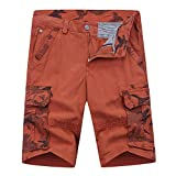 Beautyfine_Pants - Men's Cargo Short Pants Fashion Casual Cotton Multi-Pocket Outdoors Work Trouser Orange