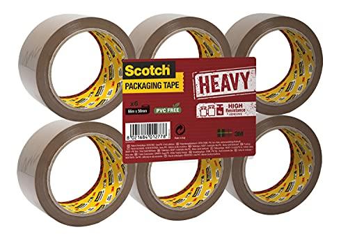 Scotch Nastro da Imballo 3M Packaging Tape Heavy/Nastro Adesivo Resistente, Confezione da 6 Rotoli, Avana, 50 mm x 66 m