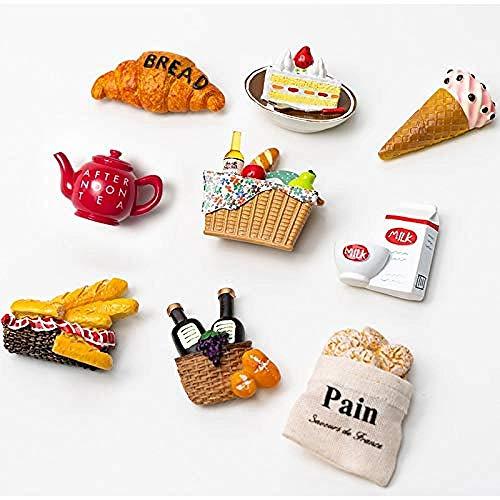 Imanes de Nevera 20pcs Comida de Dibujos Animados refrigerador de Pasta imán decoración Creativa Lindo refrigerador imán Magnet Fuerza magnético Mensaje Pasta Gorgeous