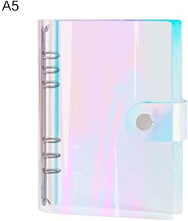 Zhi Jin A5 Rainbow Soft PVC Notebook Cover Case Loose Leaf Binder Round Ring Protector with Snap Button Closure